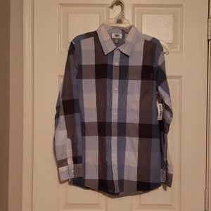 Boys NWT Plaid long sleeve button down